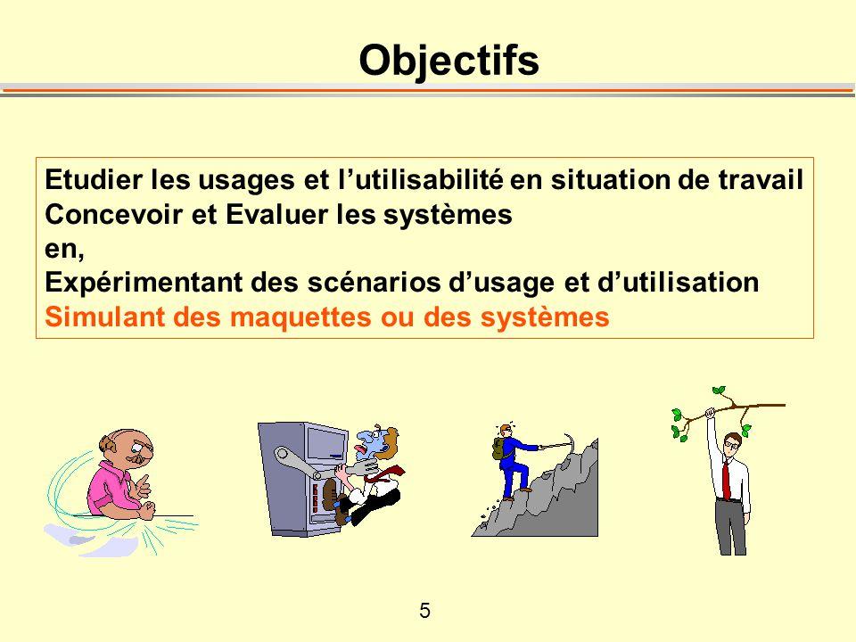 5 Objectifs Etudier les usages et lutilisabilité en situation de travail Concevoir et Evaluer les systèmes en, Expérimentant des scénarios dusage et dutilisation Simulant des maquettes ou des systèmes