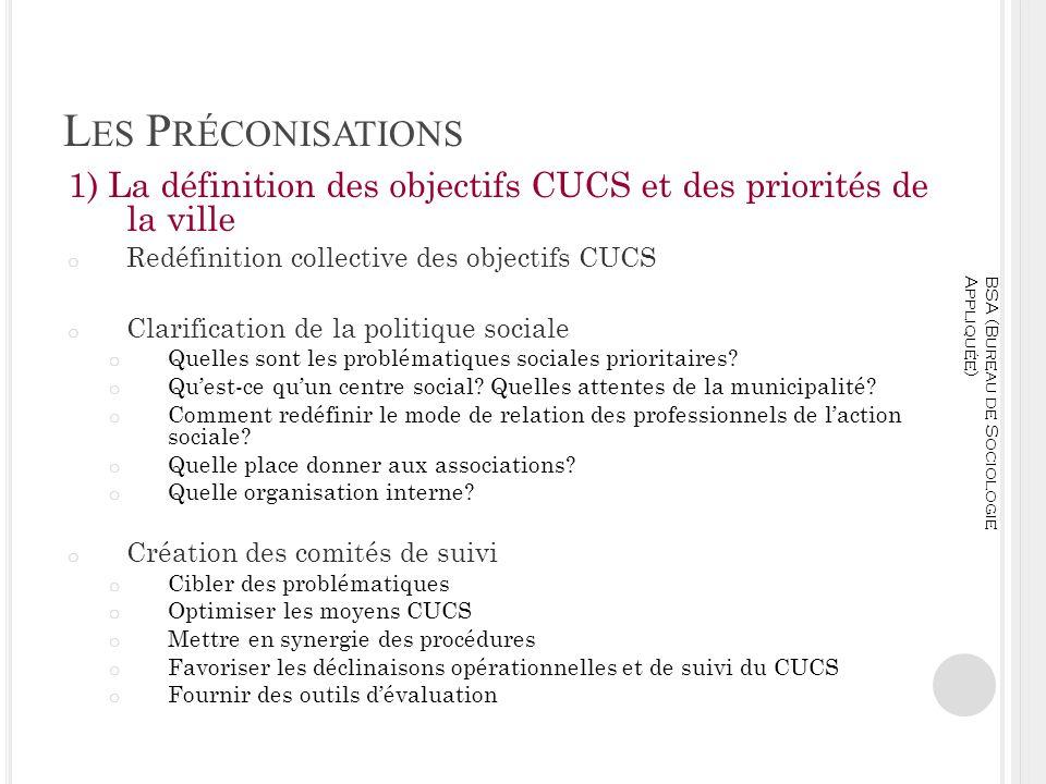 L ES P RÉCONISATIONS 1) La définition des objectifs CUCS et des priorités de la ville o Redéfinition collective des objectifs CUCS o Clarification de