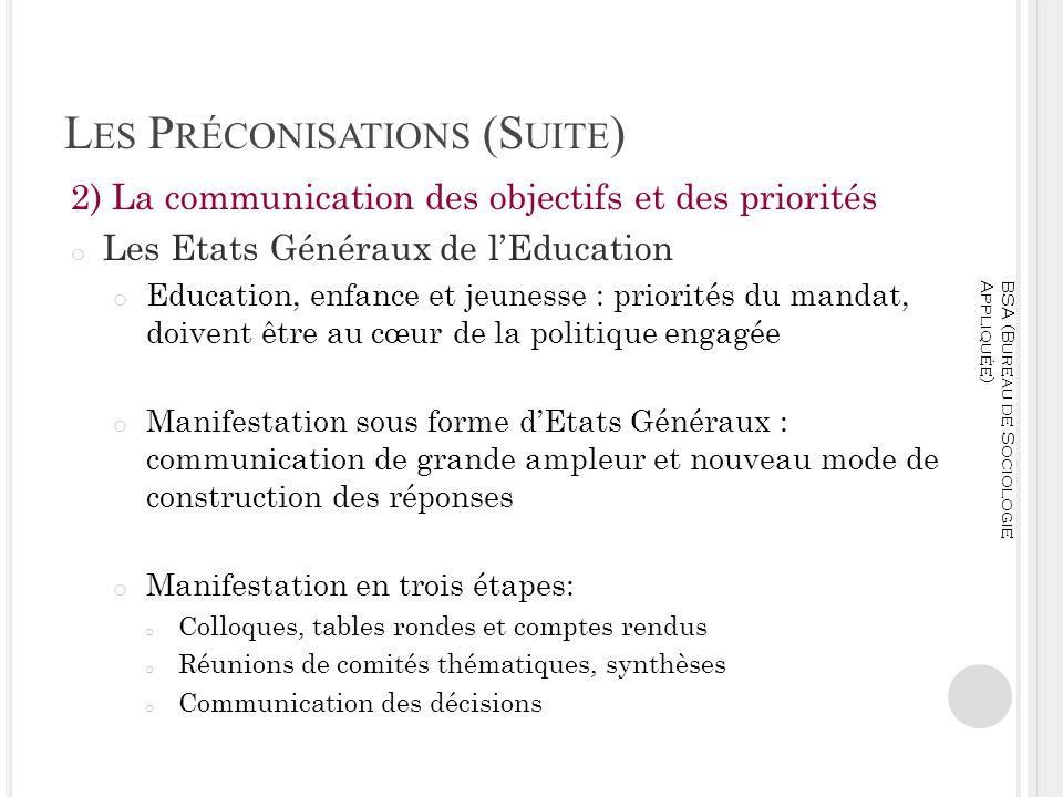 L ES P RÉCONISATIONS (S UITE ) 2) La communication des objectifs et des priorités o Les Etats Généraux de lEducation o Education, enfance et jeunesse