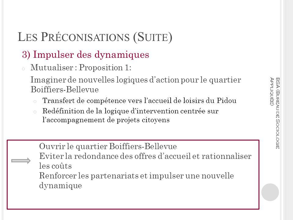 L ES P RÉCONISATIONS (S UITE ) 3) Impulser des dynamiques o Mutualiser : Proposition 1: Imaginer de nouvelles logiques daction pour le quartier Boiffi