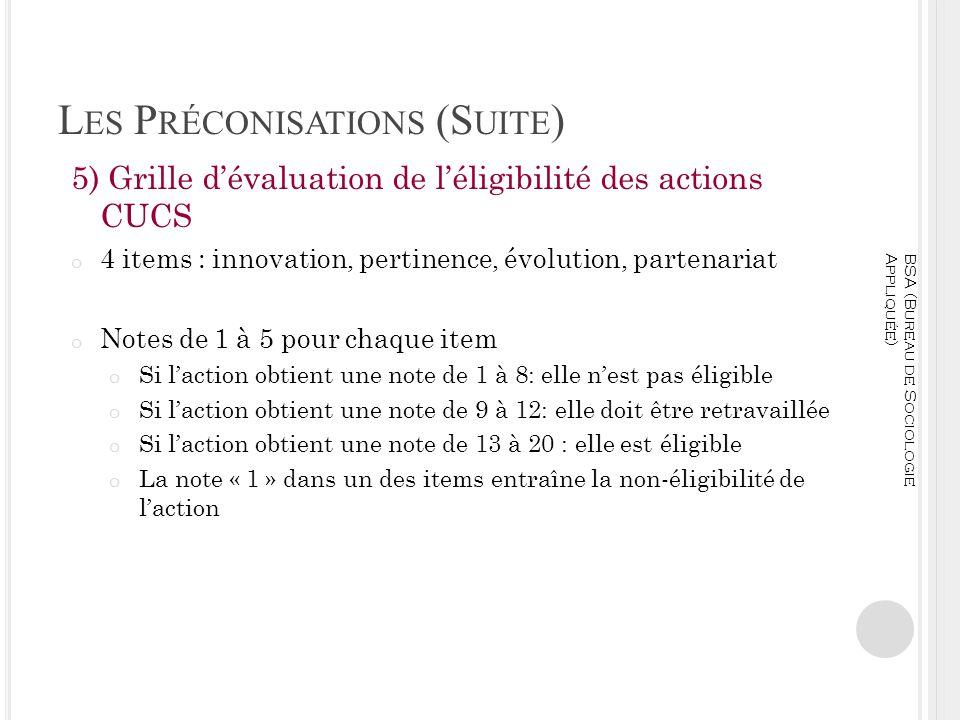 L ES P RÉCONISATIONS (S UITE ) 5) Grille dévaluation de léligibilité des actions CUCS o 4 items : innovation, pertinence, évolution, partenariat o Not