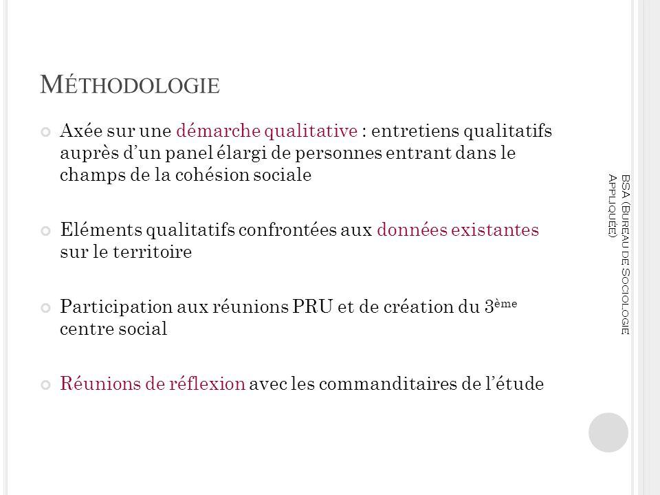 M ÉTHODOLOGIE Axée sur une démarche qualitative : entretiens qualitatifs auprès dun panel élargi de personnes entrant dans le champs de la cohésion so