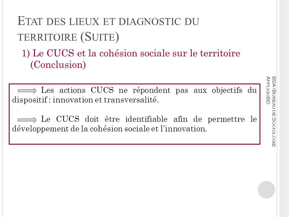 E TAT DES LIEUX ET DIAGNOSTIC DU TERRITOIRE (S UITE ) 1) Le CUCS et la cohésion sociale sur le territoire (Conclusion) BSA (Bureau de Sociologie Appli