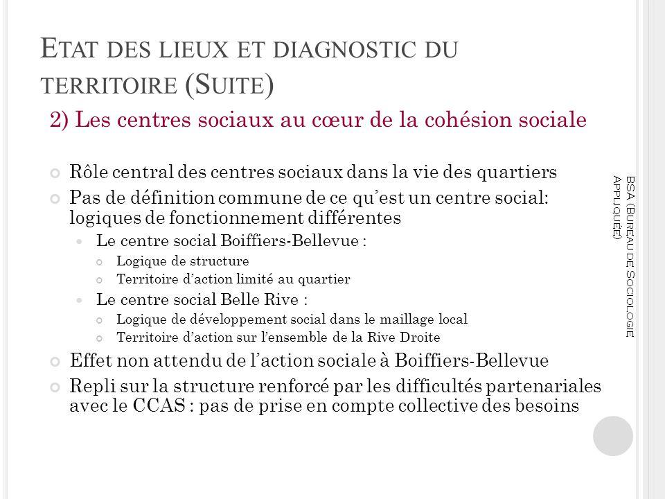 E TAT DES LIEUX ET DIAGNOSTIC DU TERRITOIRE (S UITE ) 2) Les centres sociaux au cœur de la cohésion sociale Rôle central des centres sociaux dans la v