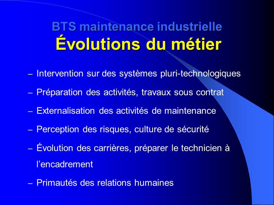 BTS maintenance industrielle Évolutions du métier – Intervention sur des systèmes pluri-technologiques – Préparation des activités, travaux sous contr