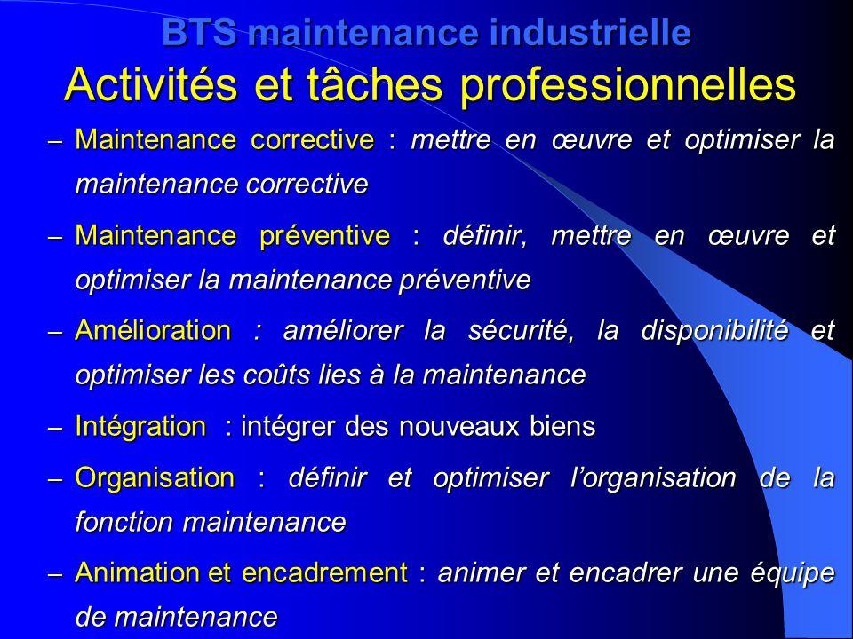 BTS maintenance industrielle Activités et tâches professionnelles – Maintenance corrective : mettre en œuvre et optimiser la maintenance corrective –