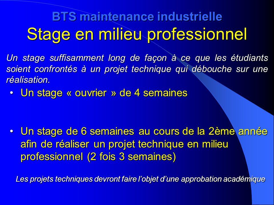 BTS maintenance industrielle Stage en milieu professionnel Un stage « ouvrier » de 4 semainesUn stage « ouvrier » de 4 semaines Un stage de 6 semaines