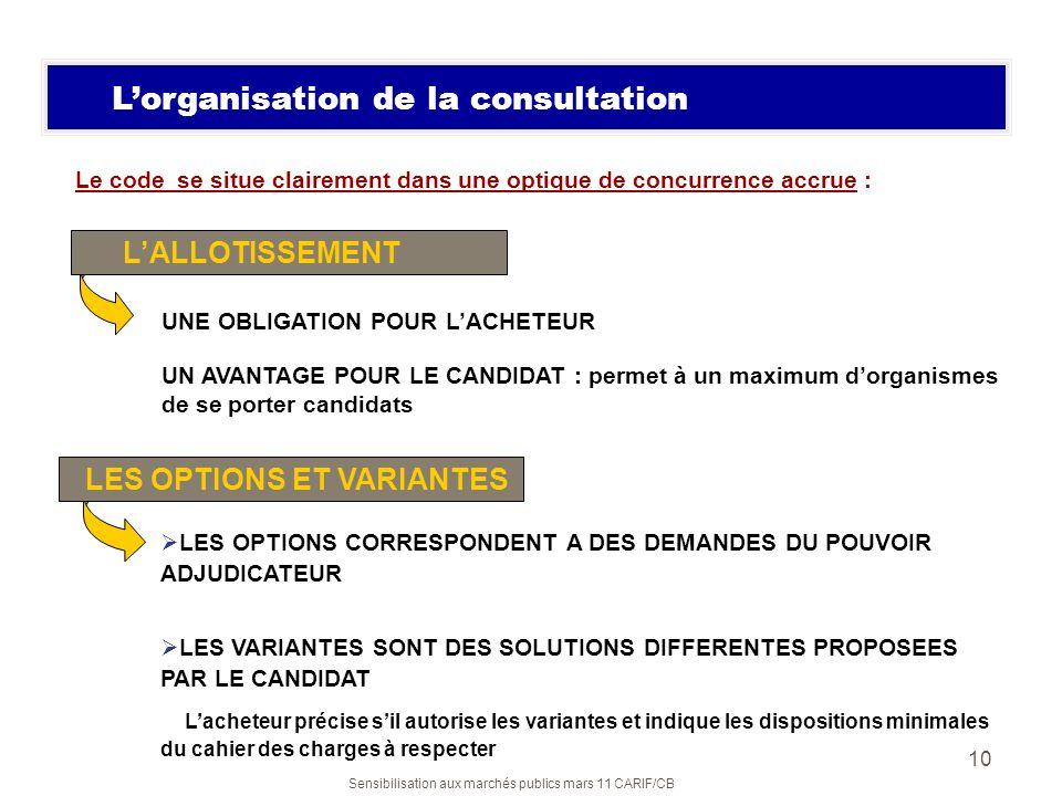 Sensibilisation aux marchés publics mars 11 CARIF/CB 10 Lorganisation de la consultation Le code se situe clairement dans une optique de concurrence a