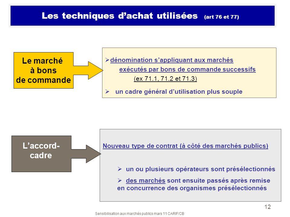 Sensibilisation aux marchés publics mars 11 CARIF/CB 12 Les techniques dachat utilisées (art 76 et 77) dénomination sappliquant aux marchés exécutés p