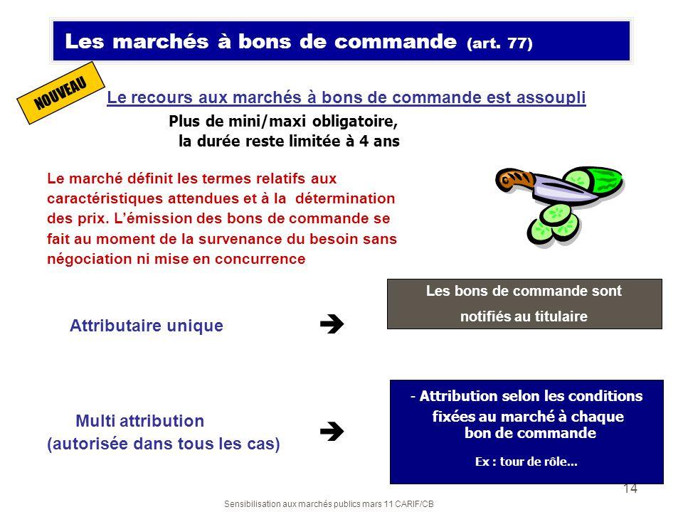 Sensibilisation aux marchés publics mars 11 CARIF/CB 14 Le recours aux marchés à bons de commande est assoupli Plus de mini/maxi obligatoire, la durée