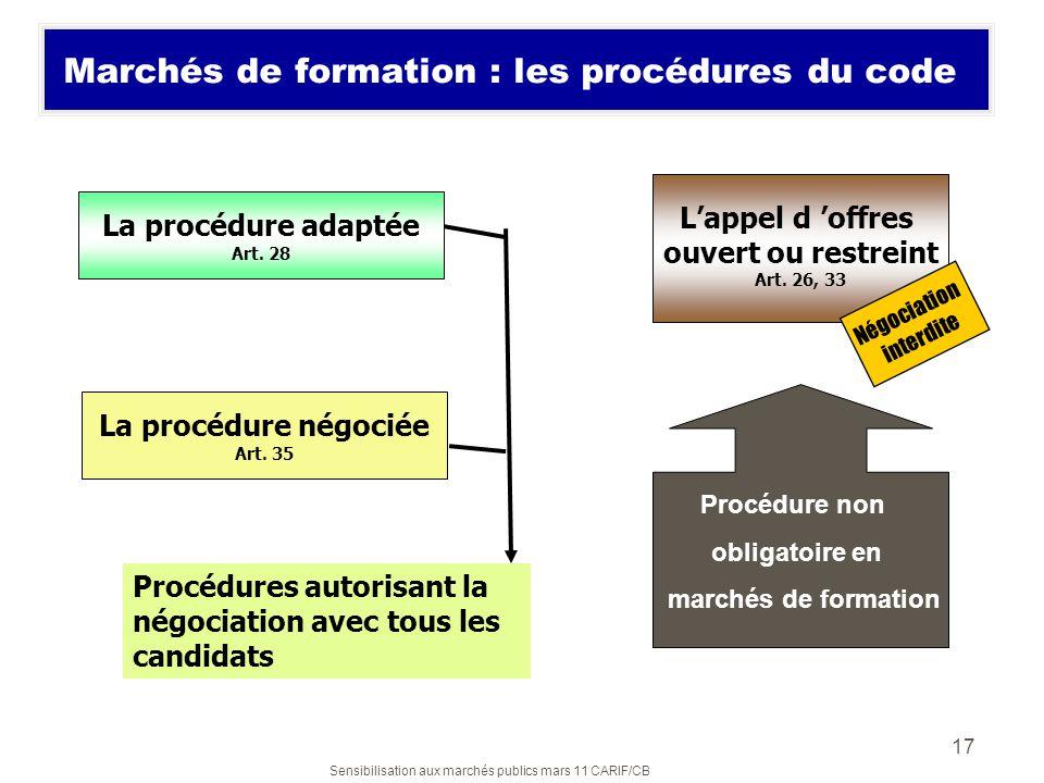 Sensibilisation aux marchés publics mars 11 CARIF/CB 17 Marchés de formation : les procédures du code La procédure négociée Art. 35 Lappel d offres ou