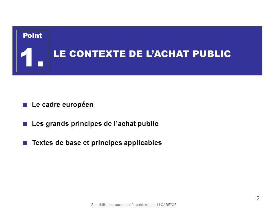 Sensibilisation aux marchés publics mars 11 CARIF/CB 2 LE CONTEXTE DE LACHAT PUBLIC Le cadre européen Les grands principes de lachat public Textes de