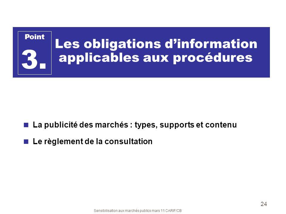 Sensibilisation aux marchés publics mars 11 CARIF/CB 24 Les obligations dinformation applicables aux procédures Point 3. La publicité des marchés : ty