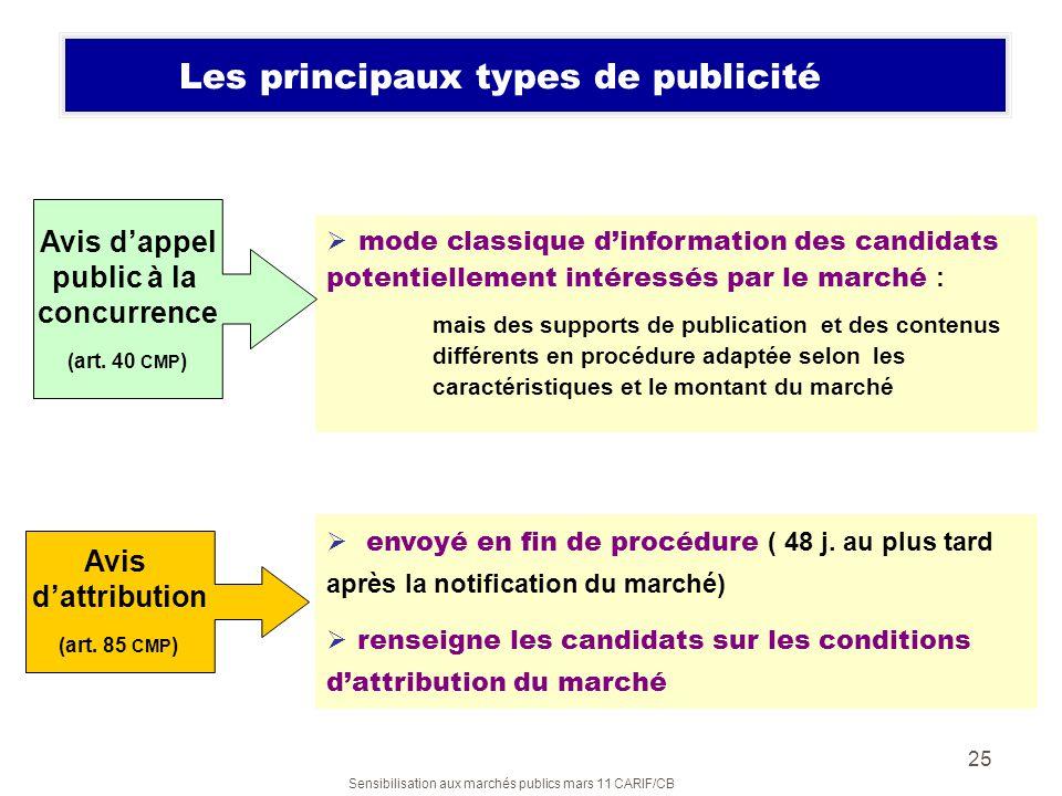 Sensibilisation aux marchés publics mars 11 CARIF/CB 25 mode classique dinformation des candidats potentiellement intéressés par le marché : mais des