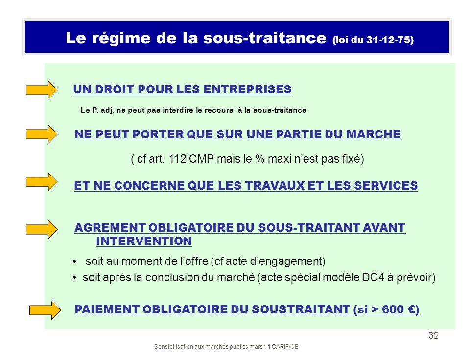 Sensibilisation aux marchés publics mars 11 CARIF/CB 32 Le régime de la sous-traitance (loi du 31-12-75) UN DROIT POUR LES ENTREPRISES Le P. adj. ne p