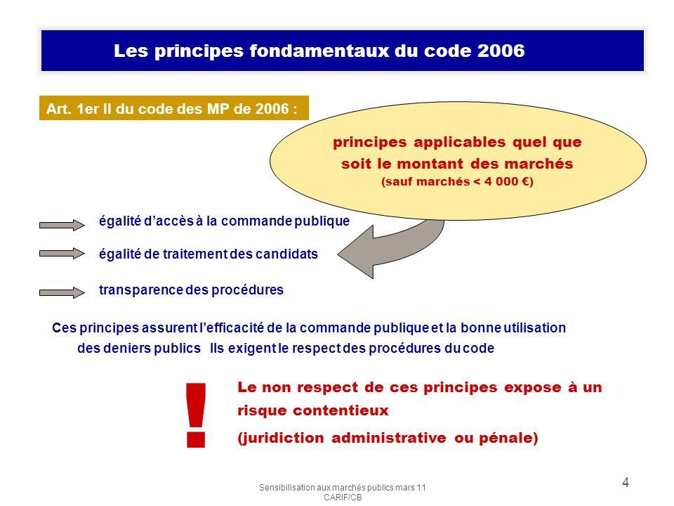 Sensibilisation aux marchés publics mars 11 CARIF/CB 4 Les principes fondamentaux du code 2006 égalité daccès à la commande publique égalité de traite