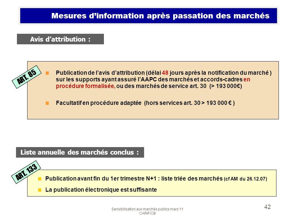 Sensibilisation aux marchés publics mars 11 CARIF/CB 42 Mesures dinformation après passation des marchés Publication de lavis dattribution (délai 48 j