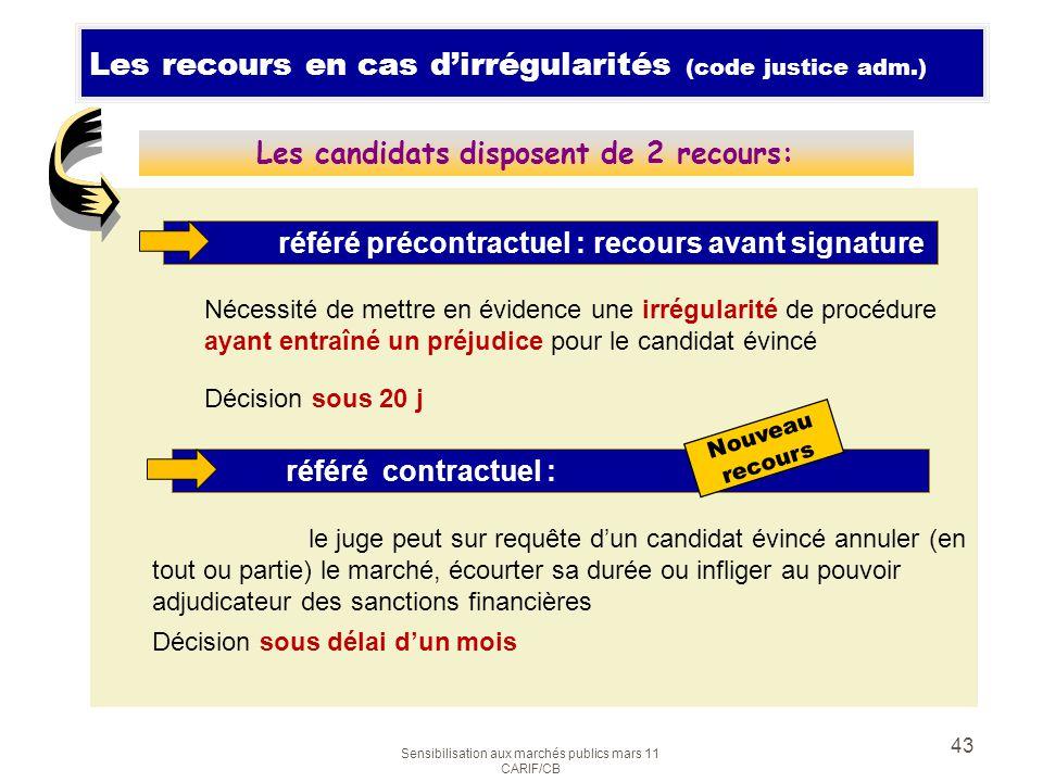 Sensibilisation aux marchés publics mars 11 CARIF/CB 43 Les recours en cas dirrégularités (code justice adm.) Nécessité de mettre en évidence une irré
