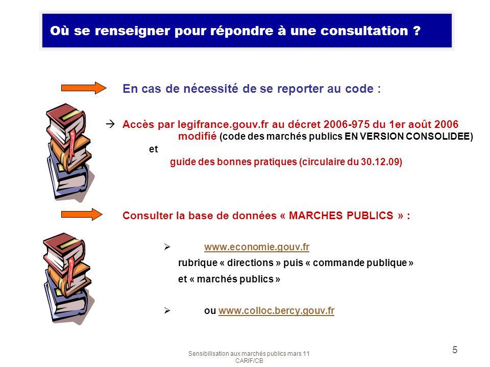 Sensibilisation aux marchés publics mars 11 CARIF/CB 5 Où se renseigner pour répondre à une consultation ? En cas de nécessité de se reporter au code