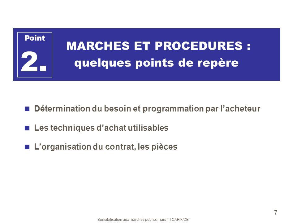 Sensibilisation aux marchés publics mars 11 CARIF/CB 7 MARCHES ET PROCEDURES : quelques points de repère Détermination du besoin et programmation par