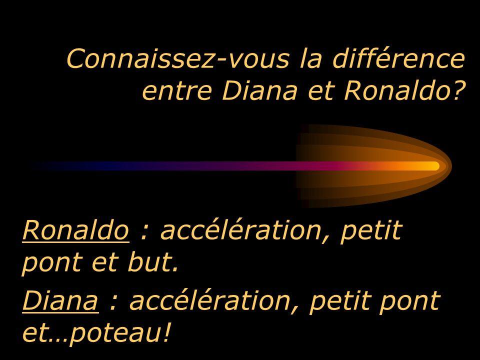 Connaissez-vous la différence entre Diana et Ronaldo? Ronaldo : accélération, petit pont et but. Diana : accélération, petit pont et…poteau!