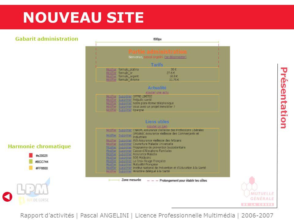 NOUVEAU SITE Présentation Rapport dactivités | Pascal ANGELINI | Licence Professionnelle Multimédia | 2006-2007 Gabarit administration Harmonie chroma