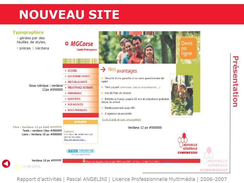 NOUVEAU SITE Présentation Rapport dactivités | Pascal ANGELINI | Licence Professionnelle Multimédia | 2006-2007 Typographies - gérées par des feuilles