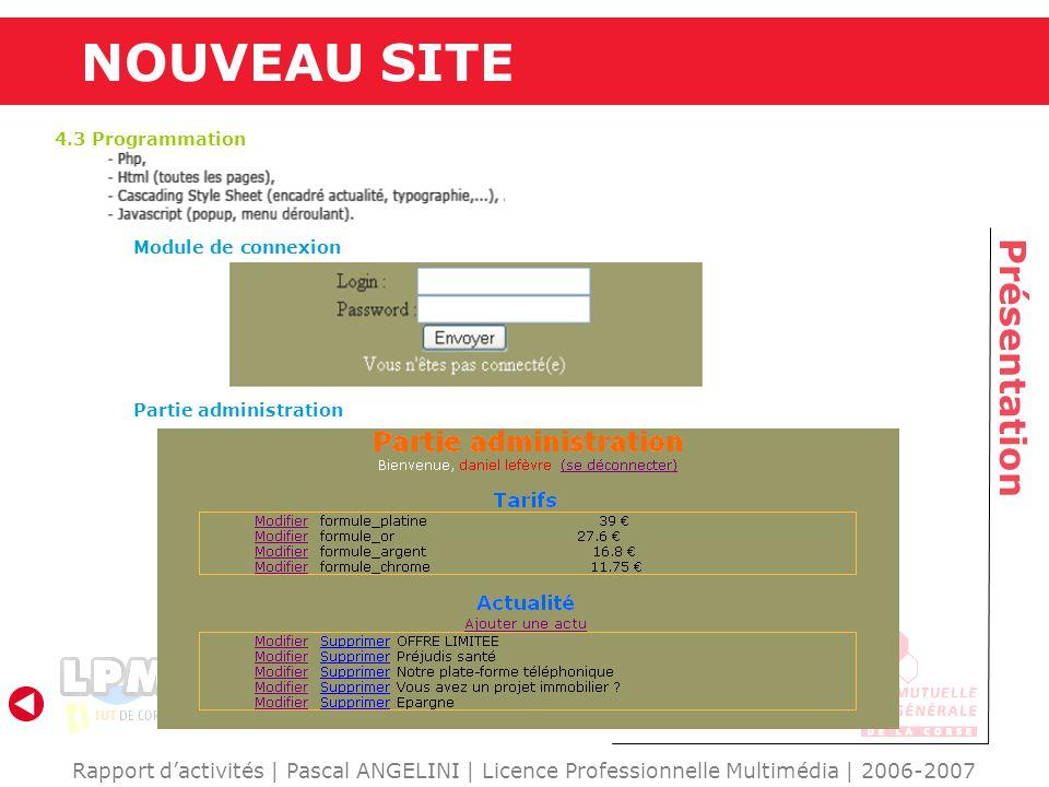 Rapport dactivités | Pascal ANGELINI | Licence Professionnelle Multimédia | 2006-2007 Présentation NOUVEAU SITE 4.3 Programmation Module de connexion Partie administration