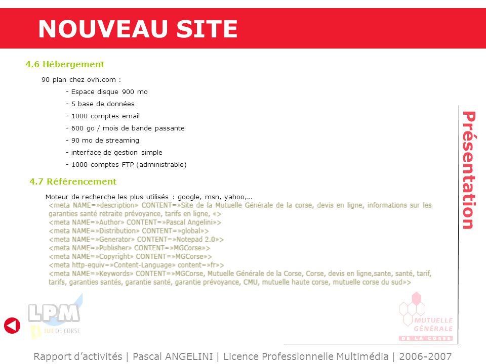 Rapport dactivités | Pascal ANGELINI | Licence Professionnelle Multimédia | 2006-2007 Présentation NOUVEAU SITE 4.6 Hébergement 4.7 Référencement Mote