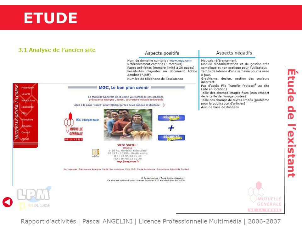 ETUDE Étude de lexistant Rapport dactivités | Pascal ANGELINI | Licence Professionnelle Multimédia | 2006-2007 3.1 Analyse de lancien site