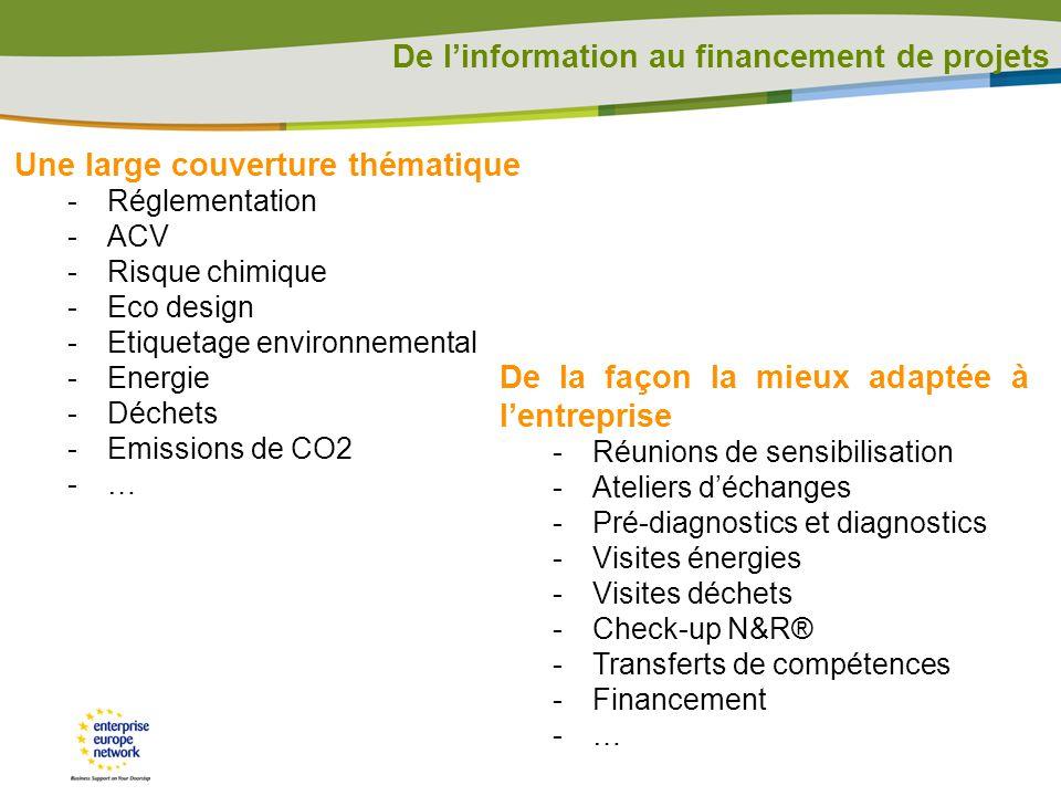 De linformation au financement de projets De la façon la mieux adaptée à lentreprise -Réunions de sensibilisation -Ateliers déchanges -Pré-diagnostics et diagnostics -Visites énergies -Visites déchets -Check-up N&R® -Transferts de compétences -Financement -… Une large couverture thématique -Réglementation -ACV -Risque chimique -Eco design -Etiquetage environnemental -Energie -Déchets -Emissions de CO2 -…