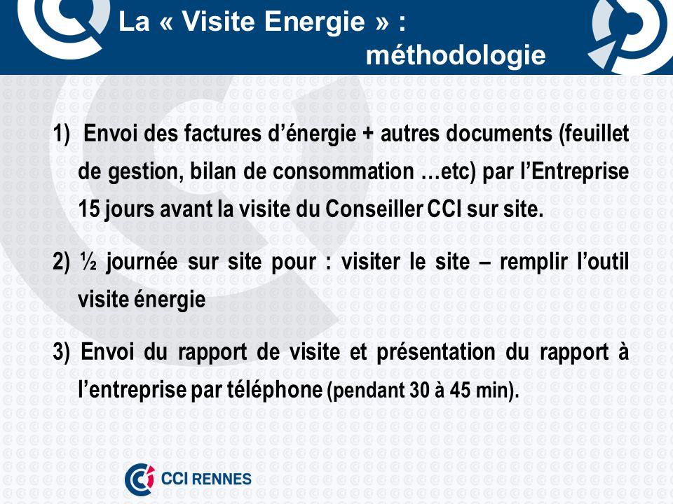 La « Visite Energie » : méthodologie 1) Envoi des factures dénergie + autres documents (feuillet de gestion, bilan de consommation …etc) par lEntreprise 15 jours avant la visite du Conseiller CCI sur site.