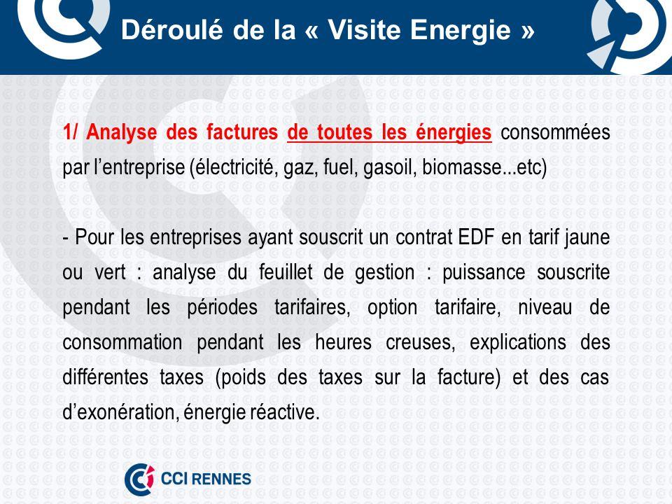 Déroulé de la « Visite Energie » 2/ Comptabilité énergétique : - tableau de suivi mensuel des consommations, - tableau des consommations annuelles dénergie, - impact des consommations en émissions de CO 2, - tableau de répartition indicatif des consommations, - suivi des ratios énergétiques.