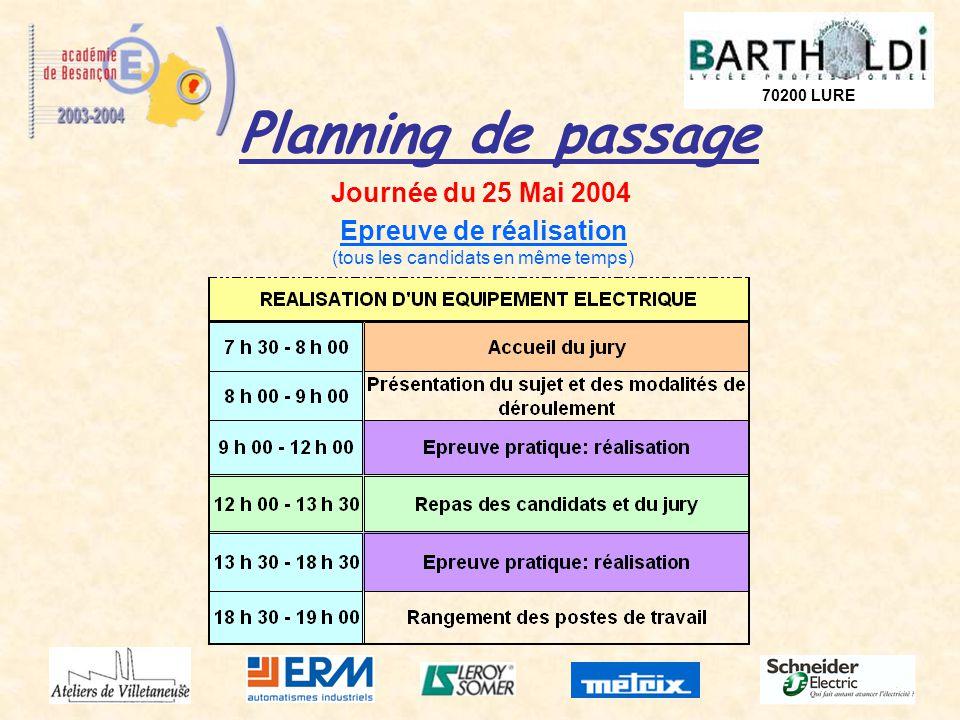 70200 LURE Planning de passage Journée du 25 Mai 2004 Epreuve de réalisation (tous les candidats en même temps)