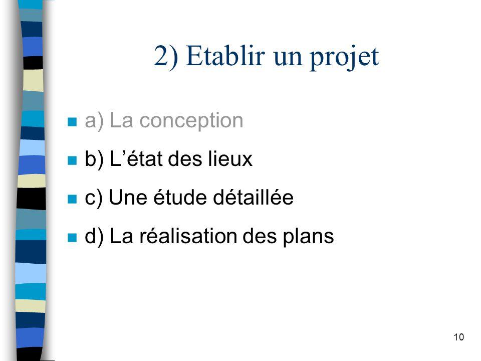 10 2) Etablir un projet n a) La conception n b) Létat des lieux n c) Une étude détaillée n d) La réalisation des plans
