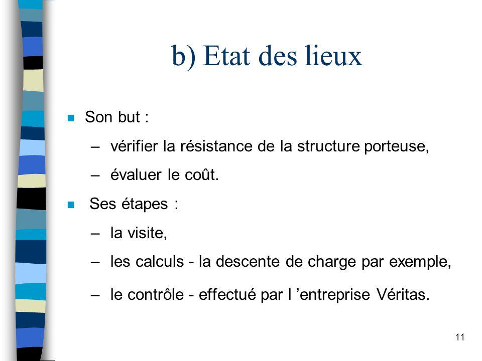 11 b) Etat des lieux n Son but : – vérifier la résistance de la structure porteuse, – évaluer le coût.