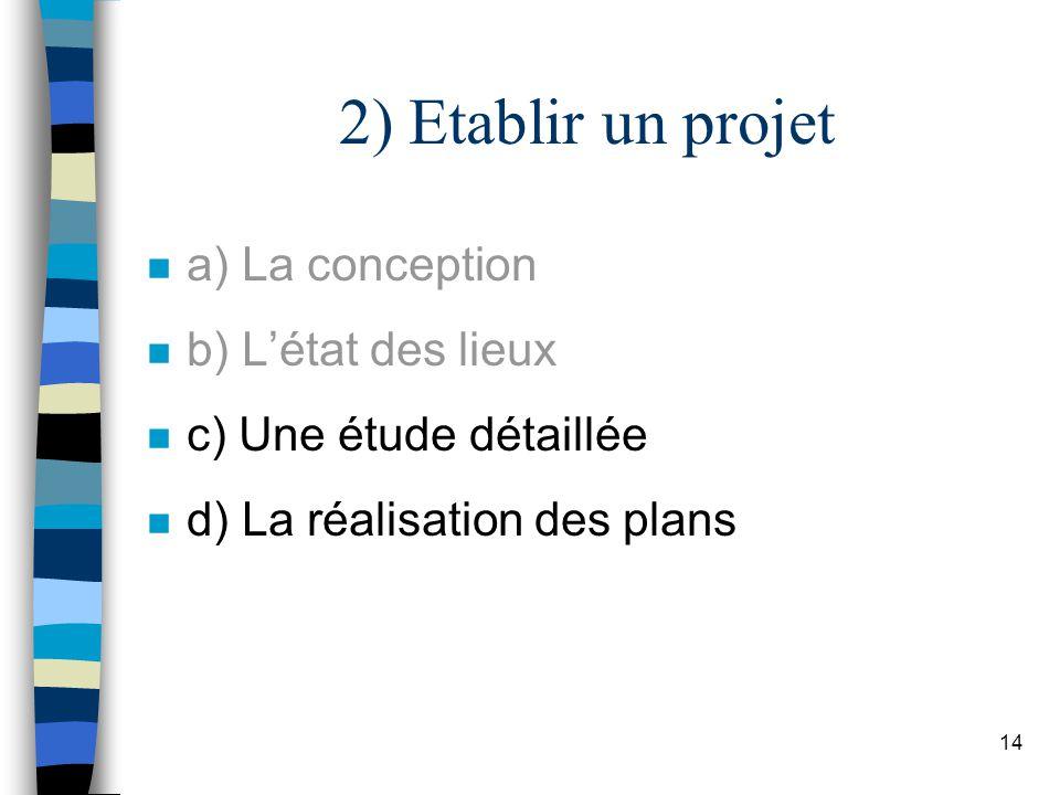 14 2) Etablir un projet n a) La conception n b) Létat des lieux n c) Une étude détaillée n d) La réalisation des plans