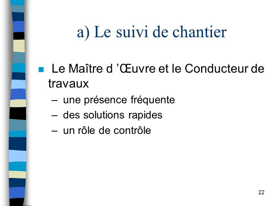 22 a) Le suivi de chantier n Le Maître d Œuvre et le Conducteur de travaux – une présence fréquente – des solutions rapides – un rôle de contrôle
