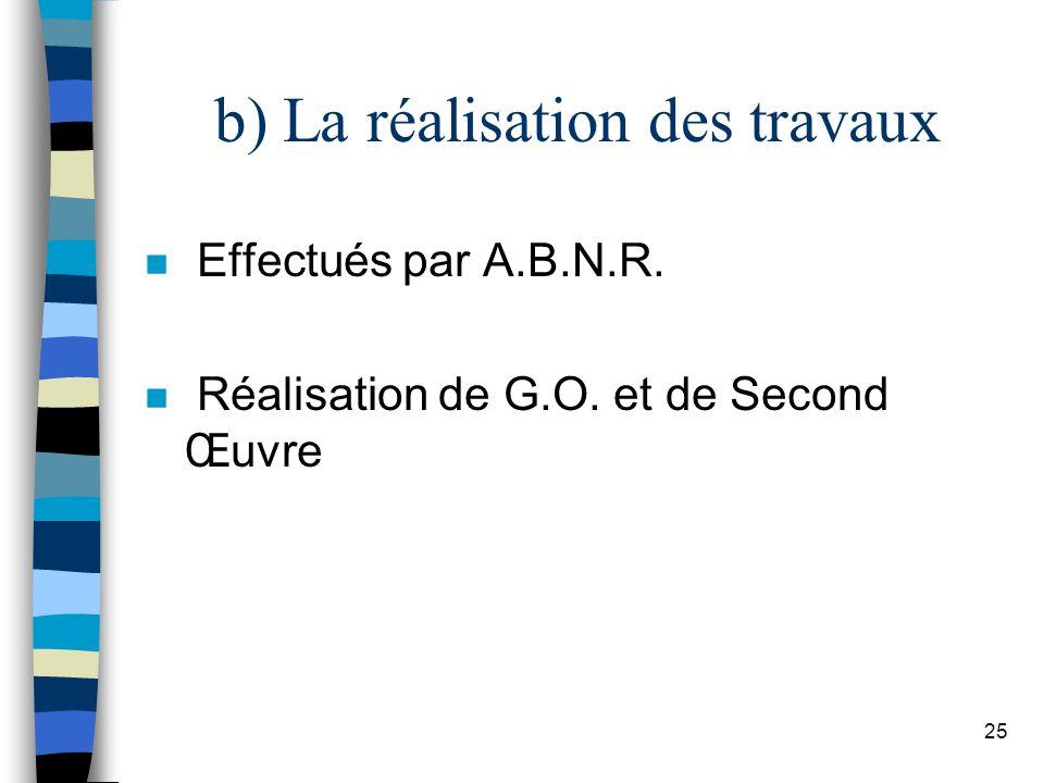 25 b) La réalisation des travaux n Effectués par A.B.N.R. n Réalisation de G.O. et de Second Œuvre