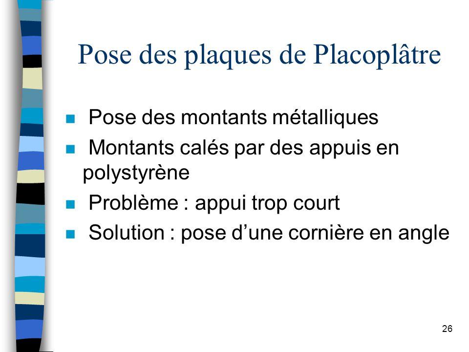 26 Pose des plaques de Placoplâtre n Pose des montants métalliques n Montants calés par des appuis en polystyrène n Problème : appui trop court n Solution : pose dune cornière en angle