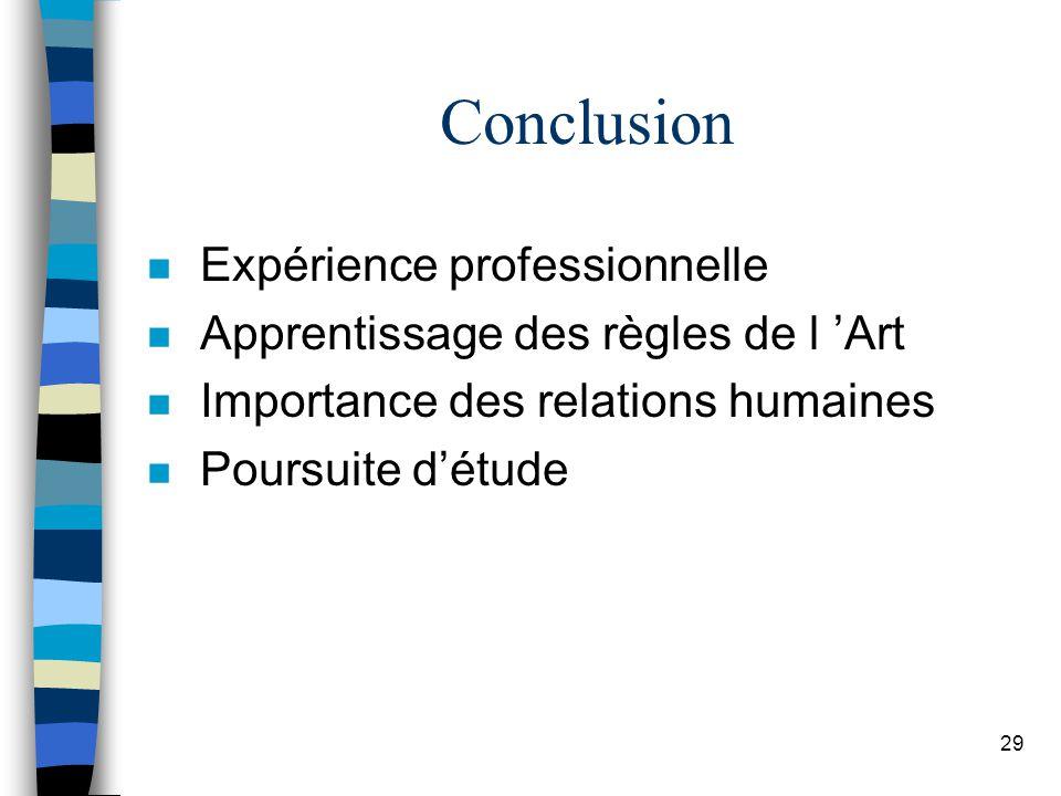 29 Conclusion n Expérience professionnelle n Apprentissage des règles de l Art n Importance des relations humaines n Poursuite détude