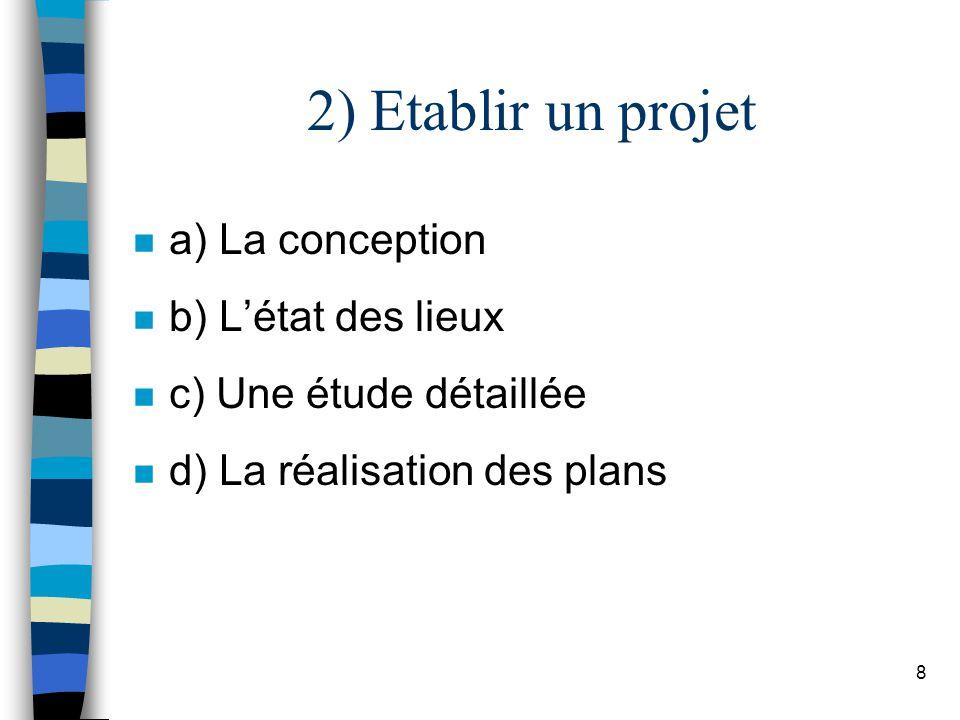 9 a) Conception n Son but : – établir des plans d architectes, – choisir les matériaux et les techniques.