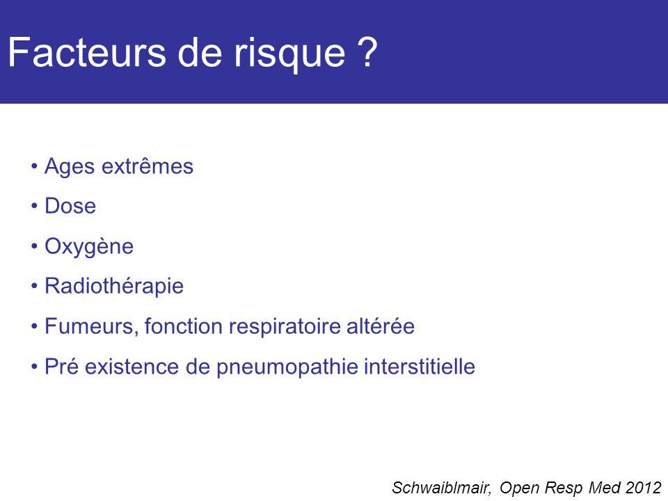 Facteurs de risque ? Schwaiblmair, Open Resp Med 2012 Ages extrêmes Dose Oxygène Radiothérapie Fumeurs, fonction respiratoire altérée Pré existence de