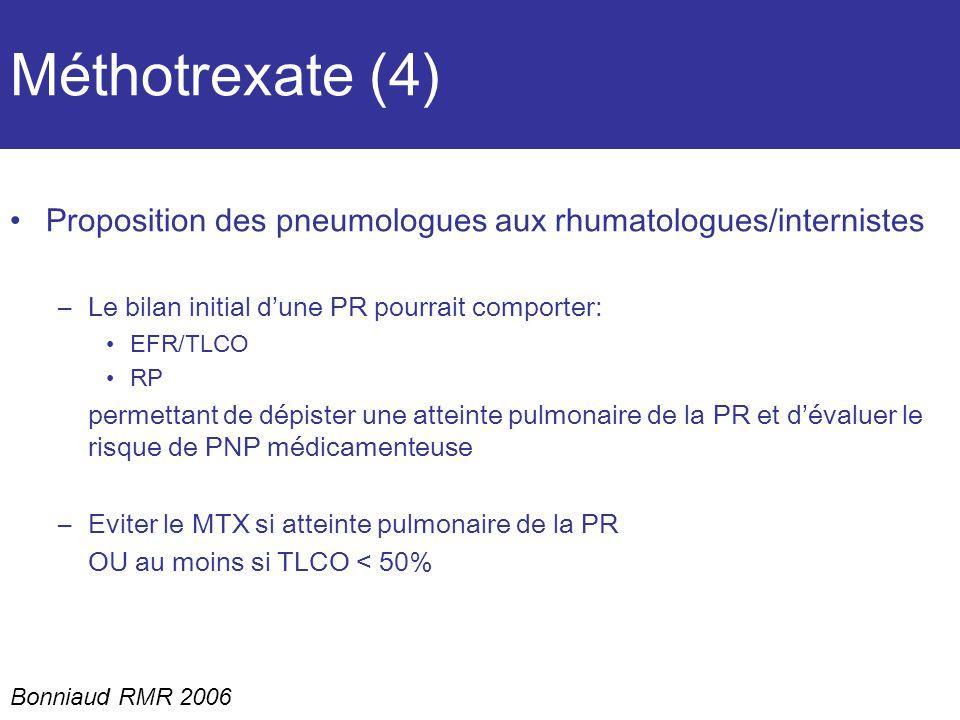 Méthotrexate (4) Proposition des pneumologues aux rhumatologues/internistes –Le bilan initial dune PR pourrait comporter: EFR/TLCO RP permettant de dépister une atteinte pulmonaire de la PR et dévaluer le risque de PNP médicamenteuse –Eviter le MTX si atteinte pulmonaire de la PR OU au moins si TLCO < 50% Bonniaud RMR 2006