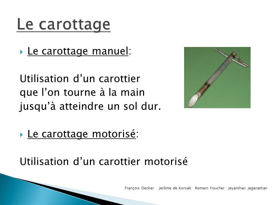 Le carottage manuel: Utilisation dun carottier que lon tourne à la main jusquà atteindre un sol dur. Le carottage motorisé: Utilisation dun carottier