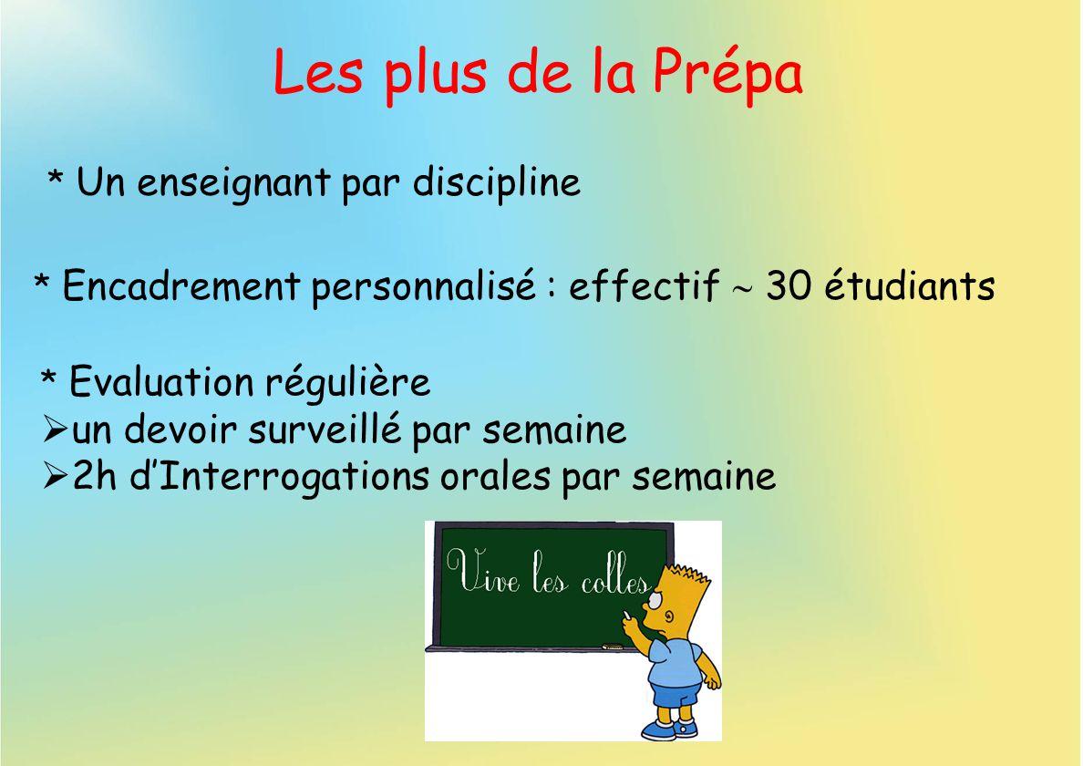 Les plus de la Prépa * Un enseignant par discipline * Evaluation régulière un devoir surveillé par semaine 2h dInterrogations orales par semaine * Enc