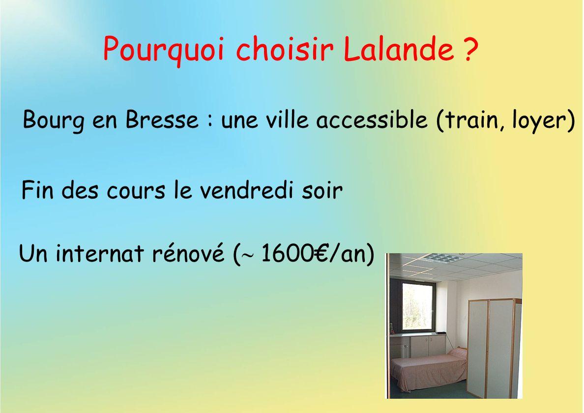 Pourquoi choisir Lalande ? Un internat rénové ( 1600/an) Fin des cours le vendredi soir Bourg en Bresse : une ville accessible (train, loyer)