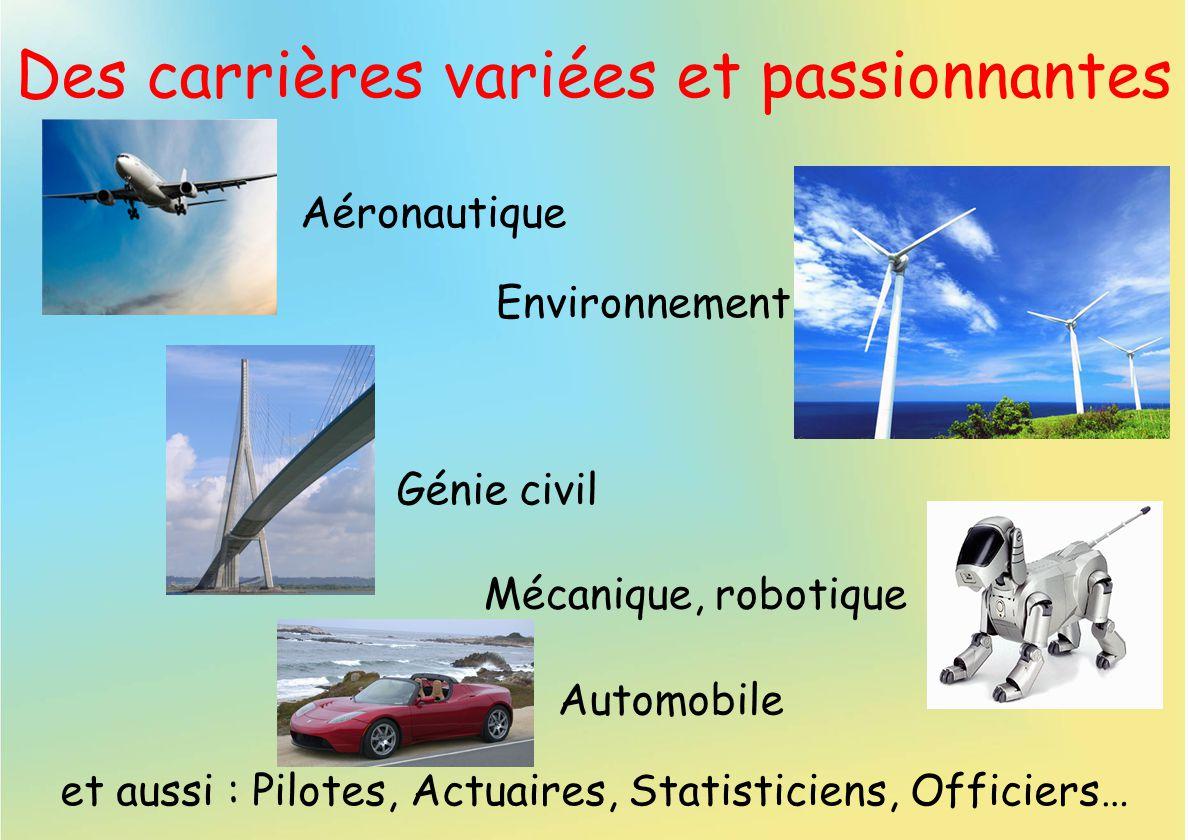 Des carrières variées et passionnantes Aéronautique et aussi : Pilotes, Actuaires, Statisticiens, Officiers… Automobile Mécanique, robotique Génie civ
