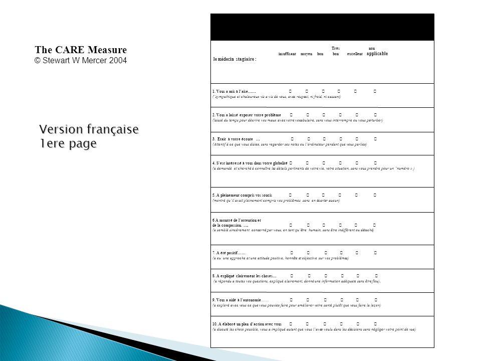 The CARE Measure © Stewart W Mercer 2004 Version française 1ere page 1.Sil vous plait, veuillez remplir le questionnaire concernant la consultation que vous venez de passer.