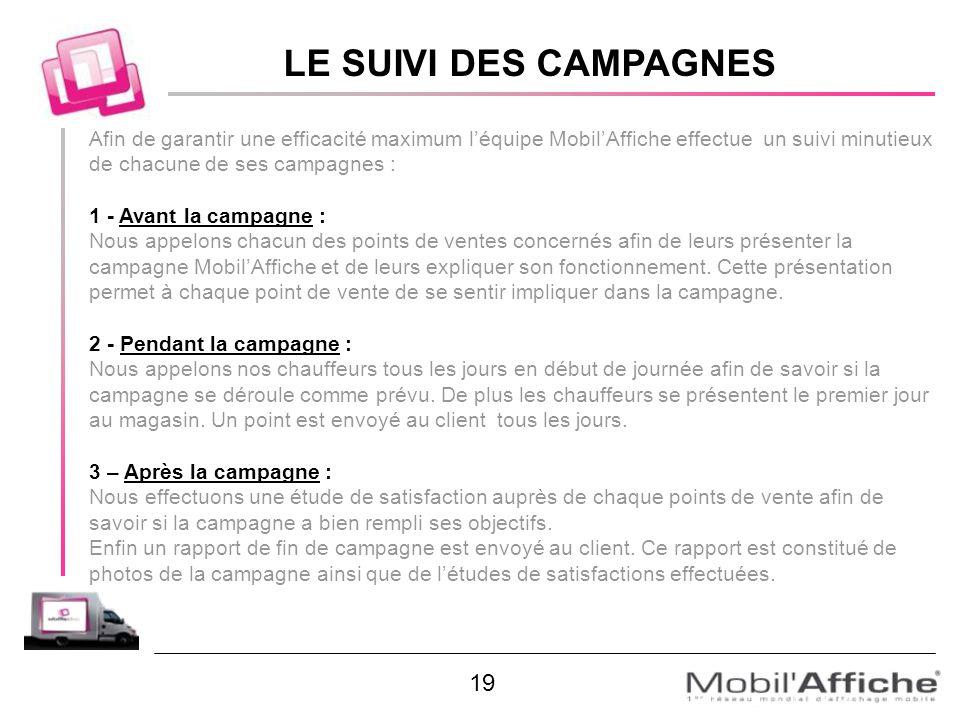 Afin de garantir une efficacité maximum léquipe MobilAffiche effectue un suivi minutieux de chacune de ses campagnes : 1 - Avant la campagne : Nous ap